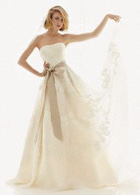 Strapless Satin Organza Gown with Antique Lace, I really like this one...I want to try it on!
