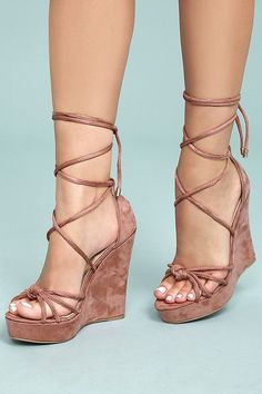 2085d32a212b Macy Dusty Pink Suede Lace-Up Wedges