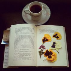 In good company with tea, books and flowers | Flickr