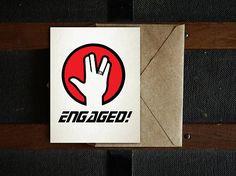 Engaged! Star Trek Engagement Card, Trekkie Card, Nerdy Card, Blank Inside, 4.25x5.5, 5x7, PDF