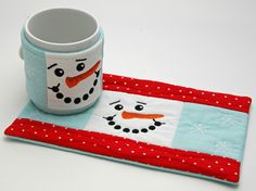 Snowman Cup Cozy & Mug Rug designed by Embroidery Garden