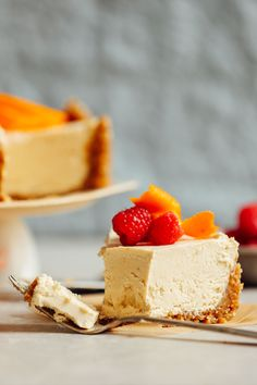 Creamy, decadent vegan cheesecake made with a date-walnut crust and cashew-coconut-yogurt filling for the ultimate tangy-sweet treat. Just 10 ingredients required and entirely vegan and gluten-free.