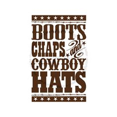 Boots Chaps and Cowboy Hats Subway Vinyl Wall by TheVinylLetter, $10.75