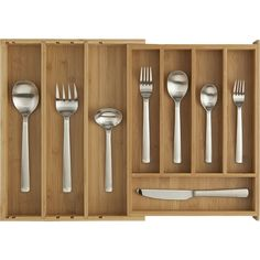 All the right spaces for flatware in renewable bamboo. Adjustable tray expands to fit almost any kitchen drawer and includes two additional dividers to customi…