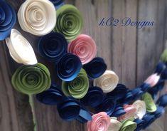 Paper Flower Garland navy blue, green, blush garland Wedding Garland. Blush wedding. Navy wedding. Green flowers.