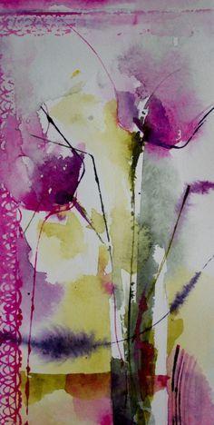 Petit instant N° 311 (Painting), 20x10 cm par Véronique Piaser-Moyen Aquarelle originale sur papier 300G