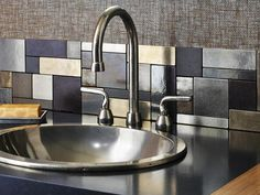 Liven up your countertops with a beautiful kitchen backsplash! If you want help designing the perfect kitchen backsplash for your MD, VA or DC home, contact Jack Rosen Custom Kitchens today! Küchen Design, Tile Design, House Design, Design Ideas, Interior Design, Modern Interior, Metal Tile Backsplash, Backsplash Ideas, Backsplash Design