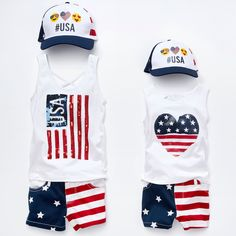 Girls fashion | Toddler clothes | Twinning | #USA baseball cap | Sequin tank top | American flag shorts | Americana | Memorial Day Weekend | The Children's Place