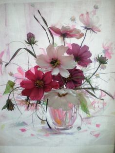 Cosmos flowers in a vase ribbon embroidery Cosmos Flowers, Flowers In Jars, Flower Vases, Flower Art, Beautiful Flowers, Flower Phone Wallpaper, Floral Drawing, Deco Floral, Flower Decorations