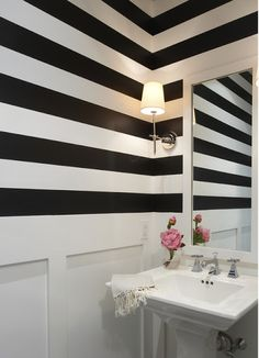 love the black and white striped walls