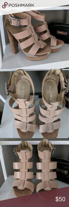 Aldo strappy platform sandal 7.5 Nude strappy sandal with big buckles and high heel and platform. Euro size 38, US size 7.5. Worn in Vegas so bottoms are dirty. No trades, debating selling so only serious offers Aldo Shoes Heels