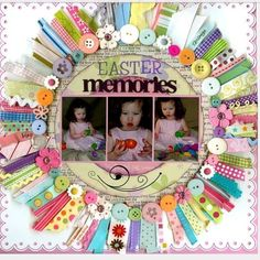 Scrapbook to Collect Easter Memories . Once the Easter pictures are taken, you can use this beautiful scrapbook to collect these pictures and display the good moment and it may recalls your beautiful memory and happy mood at that time. Scrapbook Designs, Scrapbook Sketches, Scrapbook Page Layouts, Simple Scrapbooking Layouts, Digital Scrapbooking, Scrapbook Paper Crafts, Scrapbook Cards, Scrapbook Photos, Baby Girl Scrapbook