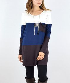 Look what I found on #zulily! Brown & Blue Color Block Pocket Tunic #zulilyfinds