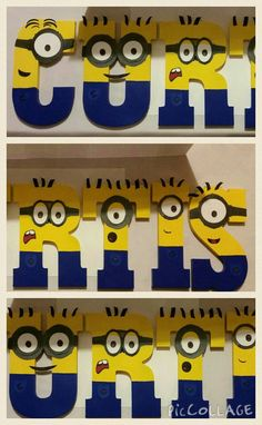 Check out this item in my Etsy shop https://www.etsy.com/listing/221966733/wooden-minion-letters-minion-name