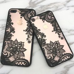 Lace iPhone 8 Plus Cases - iPhone 7 Plus Floral henna lace case - Henna flower lace iPhone 8 Plus clear cover in black and white - Black White Pink Red Covers Iphone, Iphone 7 Plus Cases, Diy Phone Case, Cute Phone Cases, Henna Phone Case, Iphone7 Case, Paisley Flower, Accessoires Iphone, S5 Mini