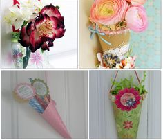 May Day cones. make with scrapbook paper and fill with dried or fresh flowers and deliver to friends