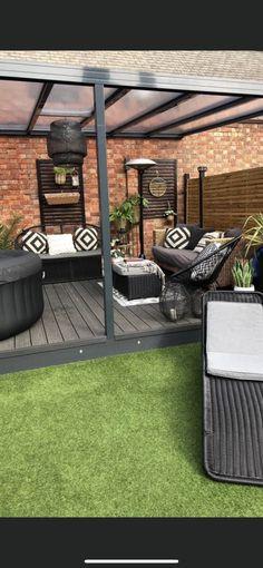 Rustic Outdoor Spaces, Outdoor Garden Rooms, Outdoor Seating Areas, Backyard Patio Designs, Backyard Landscaping, Outside Living, Outdoor Living, Back Garden Design, Hot Tub Garden