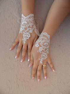 gant de mariage Ivoire, Ivoire, argent - brodé dentelle gants