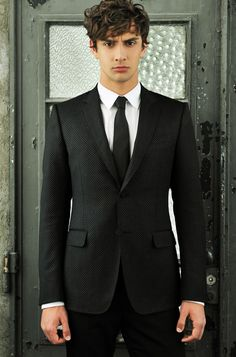 Black pattern suit - Hair's not bad