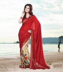 #Red and #cream color  #crape #saree #sari