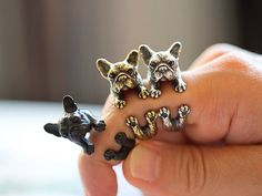 Ring mit Französischer Bulldogge, Verstellbarer Silberring für Hundeliebhaber / ring with frensh bulldog in silver made by Istanblue via DaWanda.com