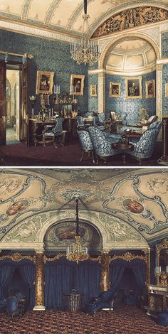 Paintings of the Boudoir of Grand Duchess Maria Alexandrovna and the fourth spare half-bedroom in the Winter Palace, St. Petersburg, by Edward Petrovich Hau