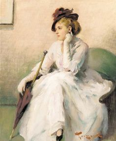 """""""Elegantly Waiting"""" -- by Fernand Toussaint (Belgian, 1873 - French Images, French Art, Georges Seurat, Paul Gauguin, Felix Vallotton, Maurice Utrillo, Victorian Portraits, Classical Art, Love Art"""