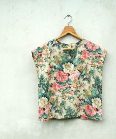 Vintage Tropical Flower Top via Etsy. I would never wear a crop top but this is cute