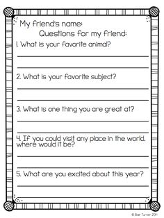"""Partner introductions are the perfect back-to-school activity. Students get to know their classmates in a one-on-one """"interview"""" and then introduce each other to the class. Free pritnables in the post: 5 Ways To Build Classroom Community in the Upper Grades"""