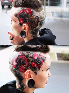 When it comes to tattoo badassness, there is nothing but nothing more badass than hardcore head tattoos. A selection of hardcore head tattoos to die for. Head Tattoos, Body Art Tattoos, Girl Tattoos, Tattoos For Women, Tattoo Art, Bald Head Tattoo, Hairline Tattoos, Woman Tattoos, Female Tattoos