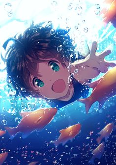 Immagine di anime, green eyes, and bubbles