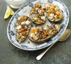 Baked aubergine stuffed with roast pumpkin, feta walnut with minted courgettes. New Zealand chef Peter Gordon showcases seasonal flavours in this impressive, healthy vegetarian meal. Bbc Good Food Recipes, Vegetarian Recipes, Cooking Recipes, Healthy Recipes, Free Recipes, Easy Recipes, Baked Eggplant, Roast Pumpkin, Fodmap Recipes