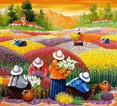 "el morrión: ""La vida y las gentes se están vistiendo... Mexican Artists, Mexican Folk Art, Art And Illustration, Peruvian Art, Southwest Art, Naive Art, Mosaic Art, Beautiful Paintings, African Art"