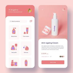 Cosmetics e-commerce app colour and design are done in accordance with the guideline and UX. Ux Design, Design Food, Web Design Trends, Wireframe Design, Mobile App Design, Mobile Application Design, Mobile Ui, Design Android, Free Banner Templates