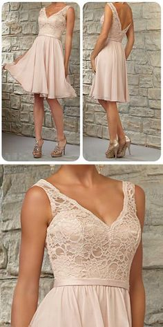 Blush Pink Junior Short Lace Top V-Neck Knee-Length Bridesmaid Dresses, BG51377