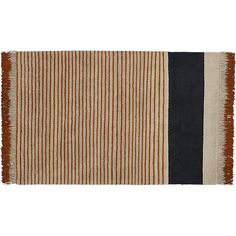 Shop camel pinstripe rug.   Desert inspiration stripes a daring combination of in-your-face-fringe and laid back stripes, designed exclusively for CB2 Aelfie Oudghiri.  Hand-knotted of 100% wool, low-pile design is a juxtaposition of classic and modern.