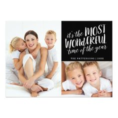 78 best christmas greetings images on pinterest christmas cards modern most wonderful holiday two photo card m4hsunfo