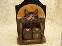 Купить Вечный календарь  Кот в полнолуние - Декупаж, кот, календарь, коричневый, подарок, оригинальный подарок