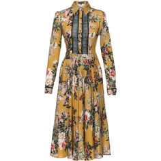Lady Hamilton Couture Dress | Moda Operandi (€620) ❤ liked on Polyvore featuring dresses, long shirt dress, ribbon dress, long-sleeve shirt dresses, brown long sleeve dress and brown dresses