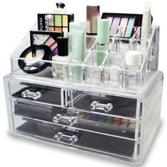 Acrylic Makeup Organizer Cosmetic Jewelry Display Box Case Holder 4 Drawers +Top