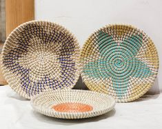 Etsy :: Your place to buy and sell all things handmade Seagrass Storage Baskets, Baskets On Wall, Wicker Baskets, Woven Baskets, Basket Weaving, Hand Weaving, Natural Weave, Creative Storage, Basket Decoration