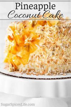 Fruity, soft cake layers filled with crushed pineapple, frosted with a vanilla coconut milk frosting, and covered with toasted coconut and dried pineapple decor. This Pineapple Coconut Cake is a beautiful, delicious dessert! #sugarspiceslife #cake #coconut #pineapple #layercake #frosting #summer #toastedcoconut Pineapple Frosting, Pineapple Coconut, Dried Pineapple, Crushed Pineapple, Coconut Recipes, Baking Recipes, Dessert Recipes, Muffin Recipes, Dinner Recipes