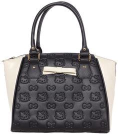 HELLO KITTY BLK/CREAM EMBOSSED CROSSBODY BAG WITH BOW This Duo toned purse is super cute! The center is black faux leather embossed with tons of Hello Kitty heads. This sophisticated bag's sides are cream faux leather with a matching bow on the center of the bag. This bag can be carried using the handles or the adjustable removable shoulder strap. $64.00 #loungefly #hellokitty #purse