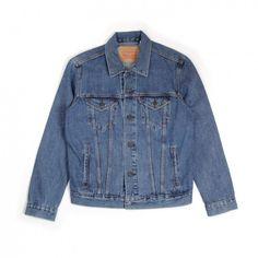 Levi's The Trucker Jacket (Medium Stonewash) (£85) ❤ liked on Polyvore featuring men's fashion, men's clothing, men's outerwear, men's jackets and trucker jacket