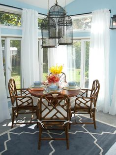 Sunny Breakfast Nook: A Low-Cost Look from HGTV's The High/Low Project. http://www.hgtv.com/decorating-basics/sabrinas-best-high-to-low-makeovers/pictures/page-10.html?soc=pinterest
