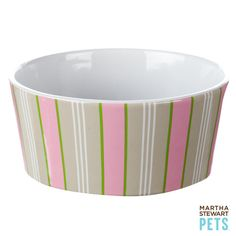 #Pet #EasterBasket Ideas - for the girls, a new feeding bowl with pink stripes | #MarthaStewartPets only @petsmartcorp