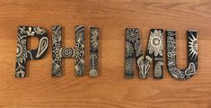 Phi Mu Black and Gold Custom Greek Letters Phi Mu Letters, Big Little Canvas, Big Little Basket, Go Greek, Sorority Canvas, Gamma Phi, Canvases, Omega, Dorm