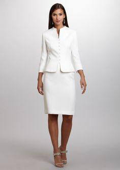 TAHARI ARTHUR S. LEVINE Button-Front Jacket Skirt Suit