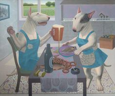Avetisyan Arman. Bull terriers in kitchen ~ http://artnow.ru/en/gallery/3/698/picture/0/28198.html