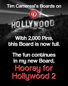 With 2,000 Pins, this Board is now full. The fun continues in my new Board, HOORAY FOR HOLLYWOOD 2. New Board, Hooray For Hollywood, Quotes, Fun, Movie Posters, Quotations, Film Poster, Quote, Shut Up Quotes